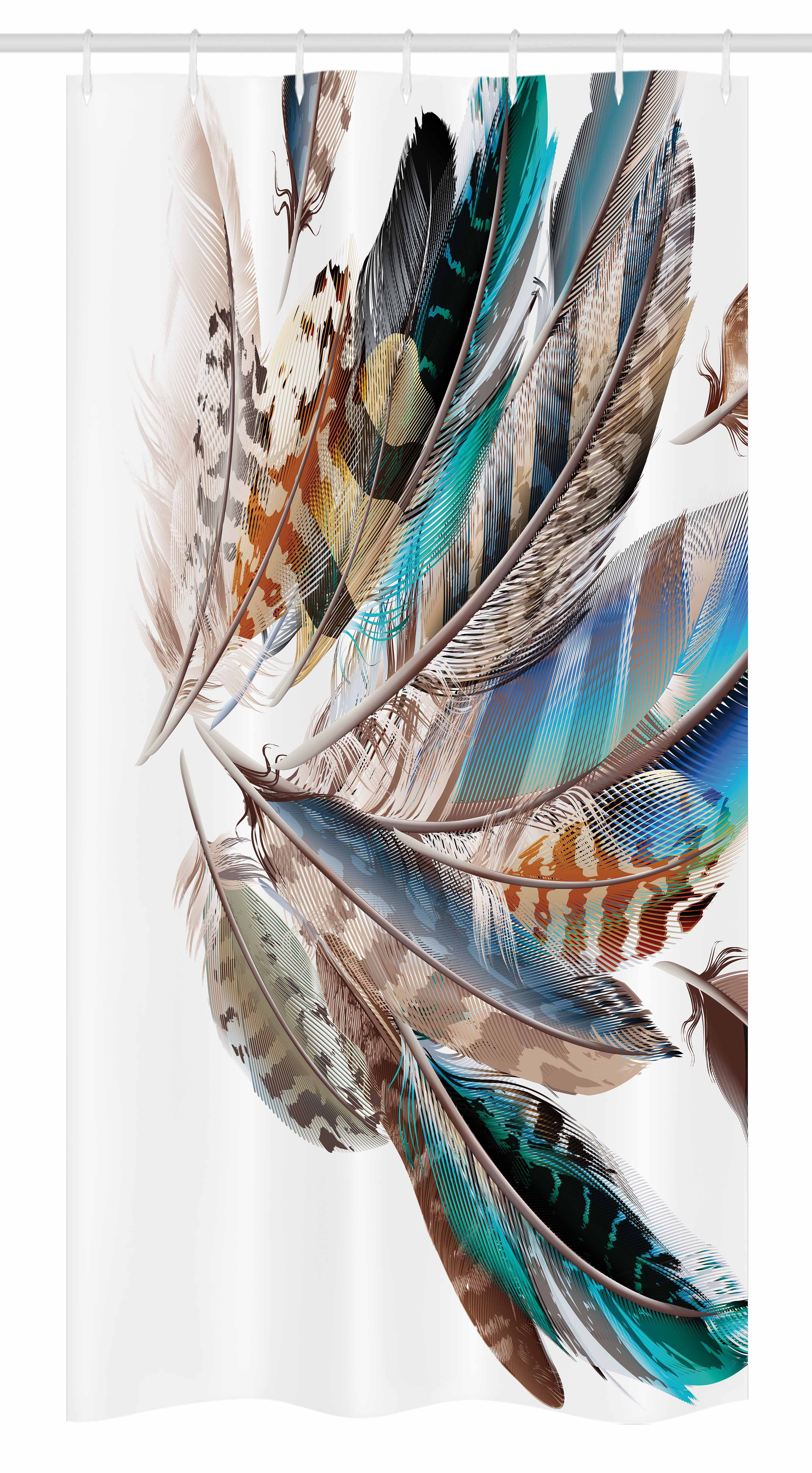 Animal Shower Curtain Contour Feather Fashion Print for Bathroom