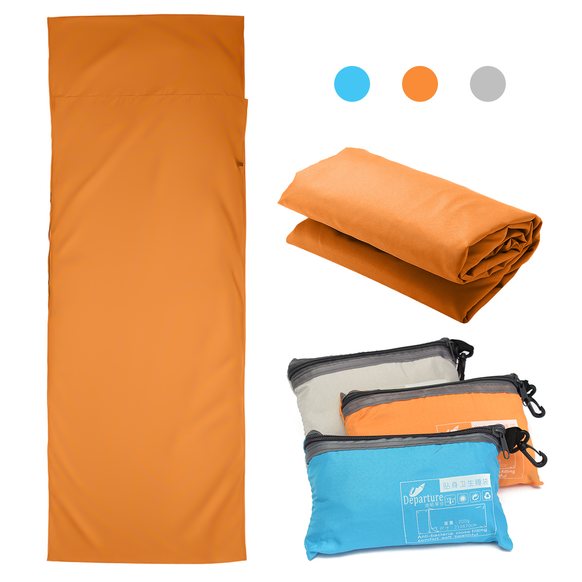 Travel Camping Sheet, Envelope Sleeping Bag Antimicrobial Soft Liner - Compact Sleep Sheet with Lightweight Carry Bag, 210 x 70 cm