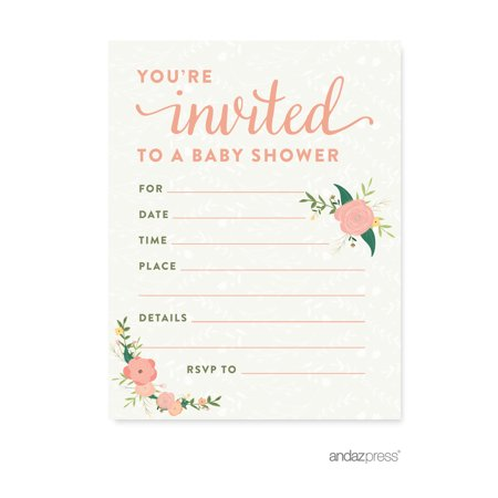 Floral Roses Girl Baby Shower Blank Invitations, 20-Pack (Office Baby Shower)