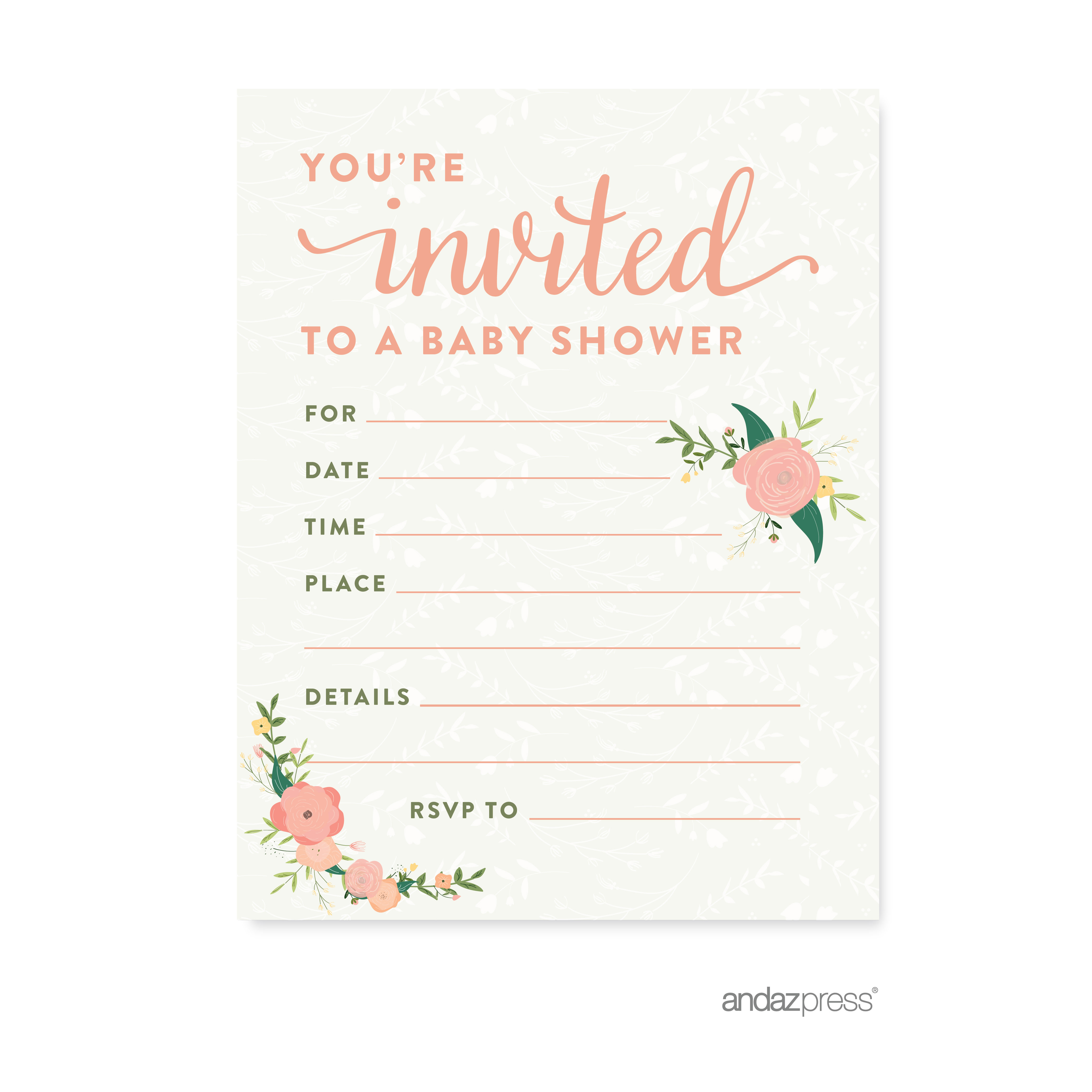 Floral Roses Girl Baby Shower Blank Invitations, 20-Pack