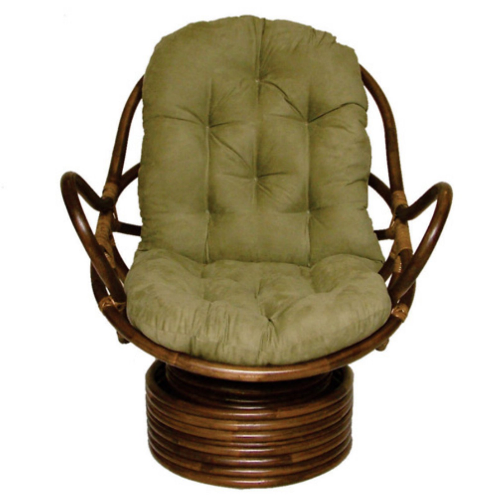 International Caravan Rattan Coil Base Swivel Rocker with Micro Suede Cushion