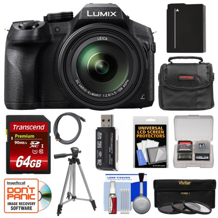 Panasonic Lumix DMC-FZ300 4K Wi-Fi Digital Camera with 64GB Card + Battery + Case + Tripod + 3 Filters +