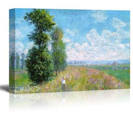 Impressionist Canvas Art (Wall26 - Meadow with Poplars by Claude Monet - Impressionist Modern Art - Canvas Art Home Decor - 16x24 inches)