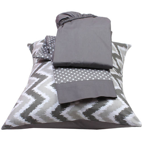 Bacati MixNMatch Grey Toddler Sheet 100% Cotton Percale  Set