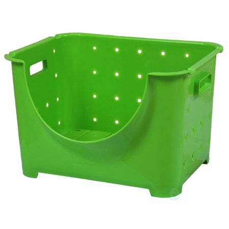Stackable Plastic Storage Container, Green Stacking Bins