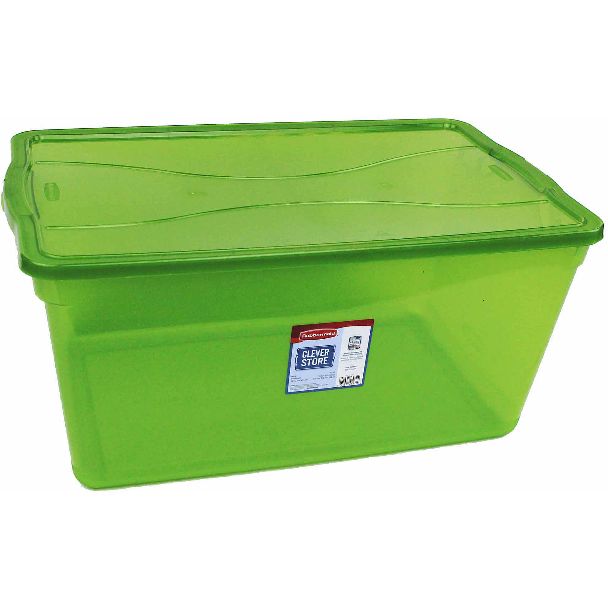 Rubbermaid Cleverstore Clear 95 Quart Non Latching Green Tint