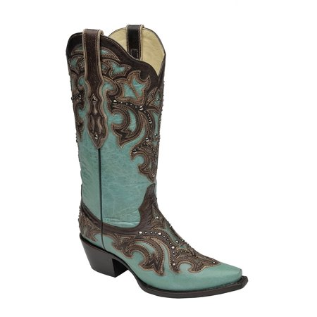 CORRAL Women's Turquoise Studded with Chocolate Inlay Snip Toe Cowgirl Boots G1184 (8 B(M) US)