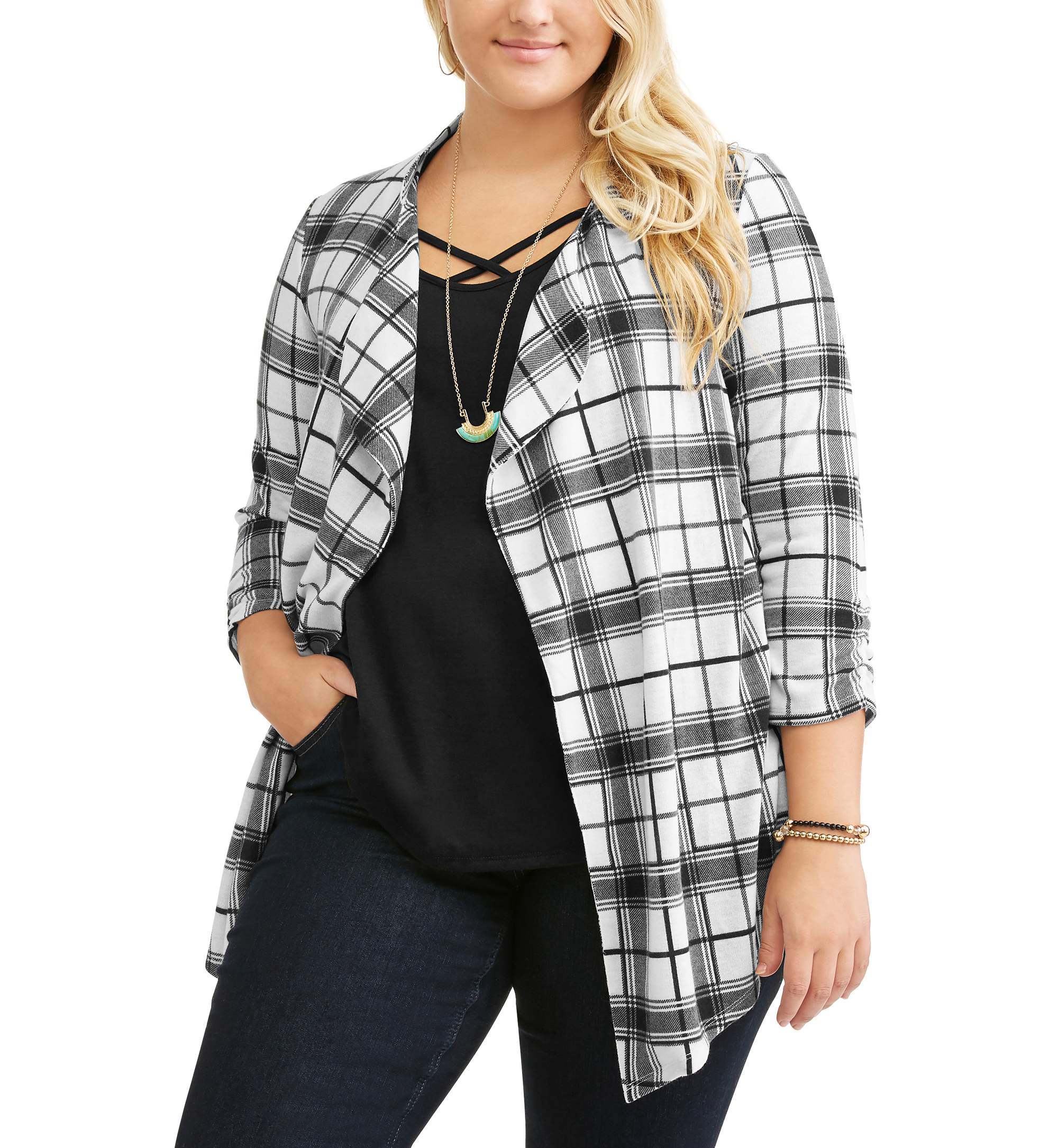 Junior's Plus 3fer - 3/4 Sleeve Plaid Flyaway with Solid Tank & Necklace
