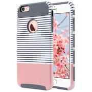 iPhone 6 Plus Case,iPhone 6s Plus Case, ULAK Slim Dual Layer Protection Scratch Resistant Hard Back Cover Shockproof TPU Bumper Case for Apple iPhone 6/6S Plus 5.5 inch-Minimal Rose Gold Grey