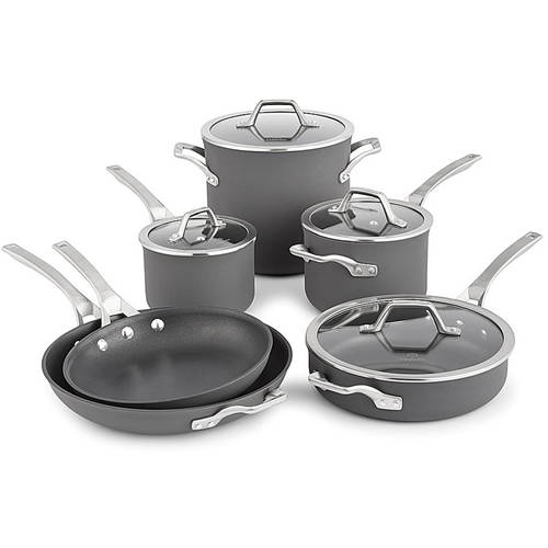 Calphalon Signature Hard-Anodized Nonstick Cookware Set, 10 Pieces, Gray