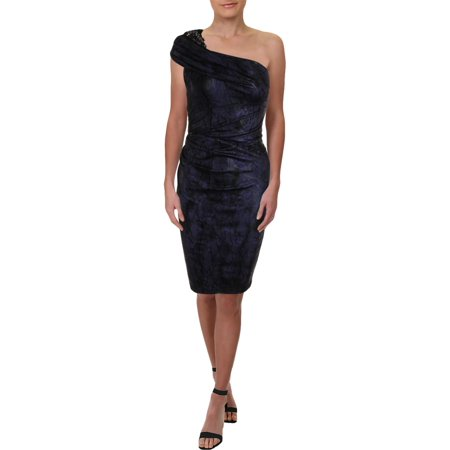 David Meister Womens Beaded One Shoulder Cocktail Dress Purple 8](David Dress)