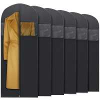 Plixio Long Black Garment Bags for Dresses, Suits, Costumes - 6 Pack 60 Inch Storage Bags Include Zipper & Transparent Window