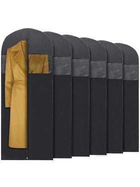 Plixio Long Black Garment Bags for Dresses, Suits, Costumes - 6 Pack 60 Inch Stroage Bags Include Zipper & Transparent Window