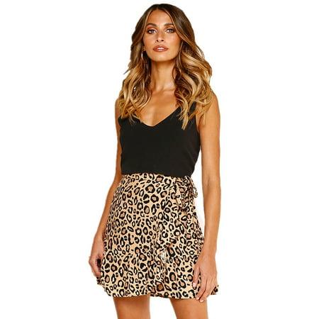 Summer Womens Casual Falbala Leopard Floral Print Skirt Bowknot Bandage Asymmetrical Hem Short Dress