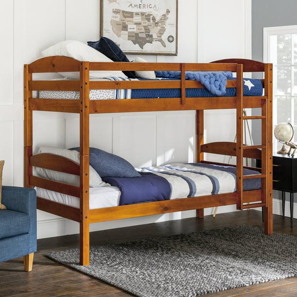 Walker Edison Solid Wood Twin Over Bunk Bed Cherry Walmart Com