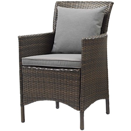 Modern Contemporary Urban Design Outdoor Patio Balcony Garden Furniture Side Dining Chair Armchair, Rattan Wicker, Grey Gray Brown ()