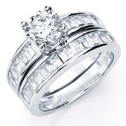 Oliveti  Sterling Silver Round Baguette-cut Cubic Zirconia Bridal-style Ring Set