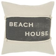 "Rizzy Home ""Beach House"" Poly Filled Decorative Throw Pillow, 20"" x 20"", Natural"