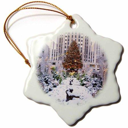 3dRose Christmas Tree, Rockefeller Center, Manhattan, New York, USA, Snowflake Ornament, Porcelain, 3-inch