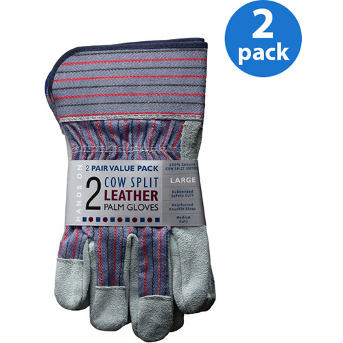 Hands On 2 Pair Value Pack, Genuine Suede Leather Palm Work Gloves