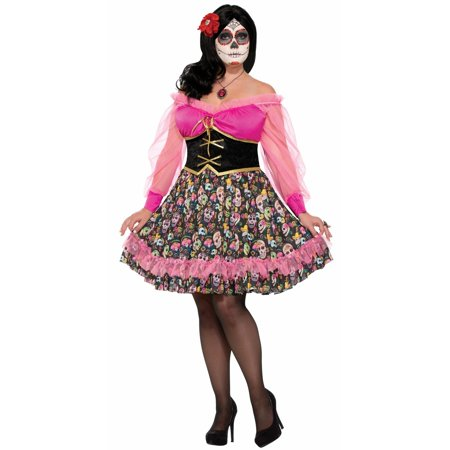 Halloween Day of the Dead Women's Plus Adult Costume (Halloween Dead Fairy Makeup)