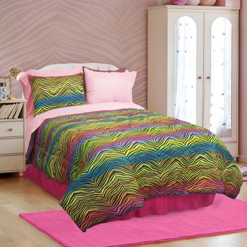 Veratex Rainbow Zebra Microfiber Bed in a Bag Bedding Set