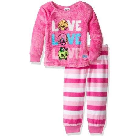 Shopkins Girls' Luxe Plush 2-Piece Pajama Snuggle Set, Pink, Size: 6 - Girls Pink Pajamas