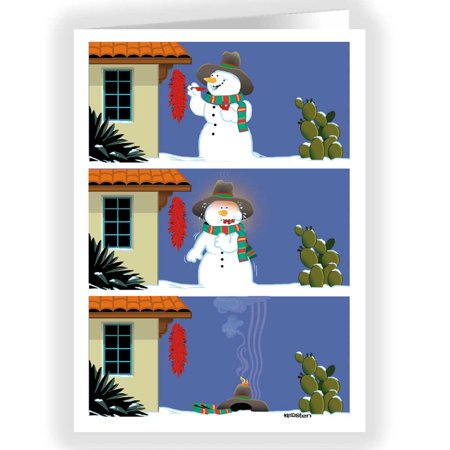 Serrano Sam the Melting Snowman - Funny Holiday Christmas Cards - 18 Cards and 19 Envelopes - Melted Snowman