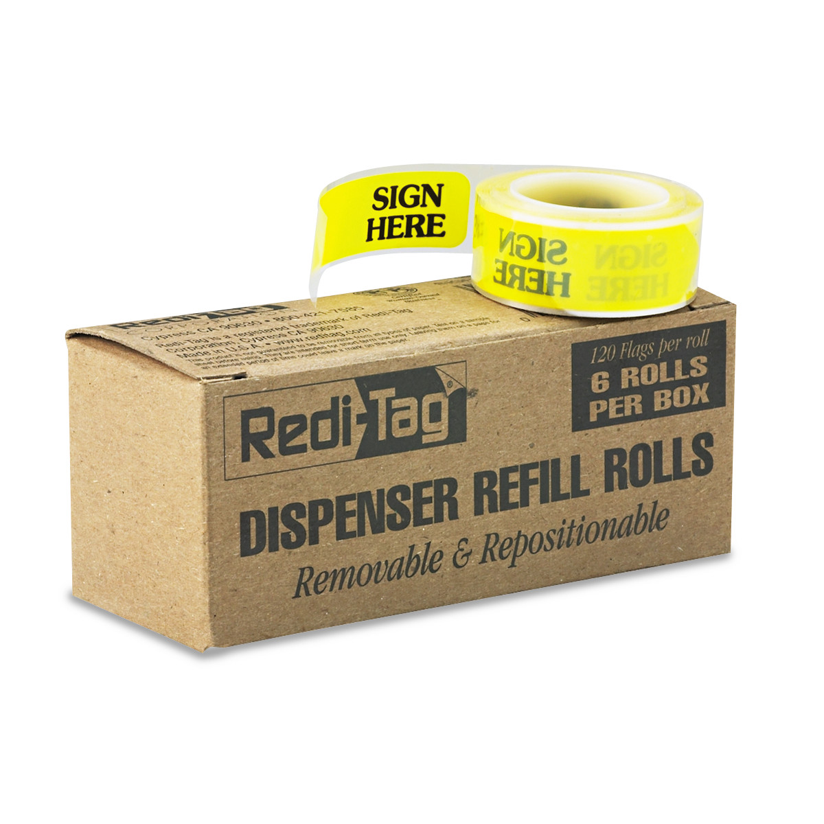 "Redi-Tag Arrow Message Page Flag Refills, ""Sign Here"", Yellow, 6 Rolls of 120 Flags -RTG91001"