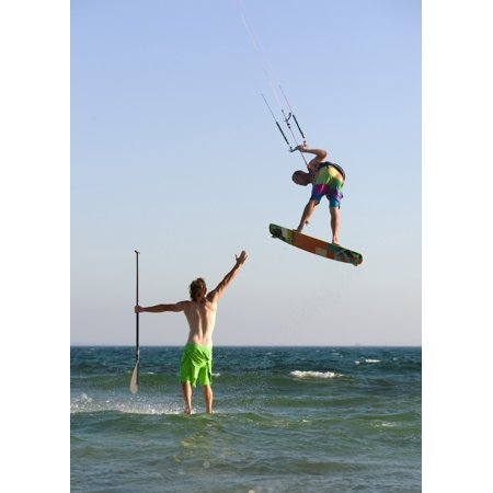 Two Men Off Valdevaqueros Beach Parasailing And Surfing Tarifa Cadiz Andalusia Spain Stretched Canvas - Ben Welsh  Design Pics (26 x 36)