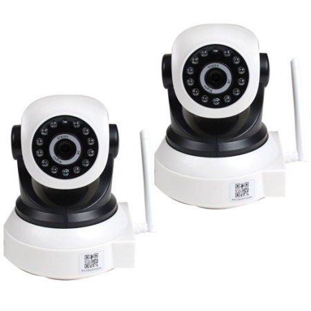 VideoSecu 2 Baby Monitor Wireless Pan Tilt Remote IR Day Night IP Security Camera for iPhone, iPad, PC, Smartphone bky