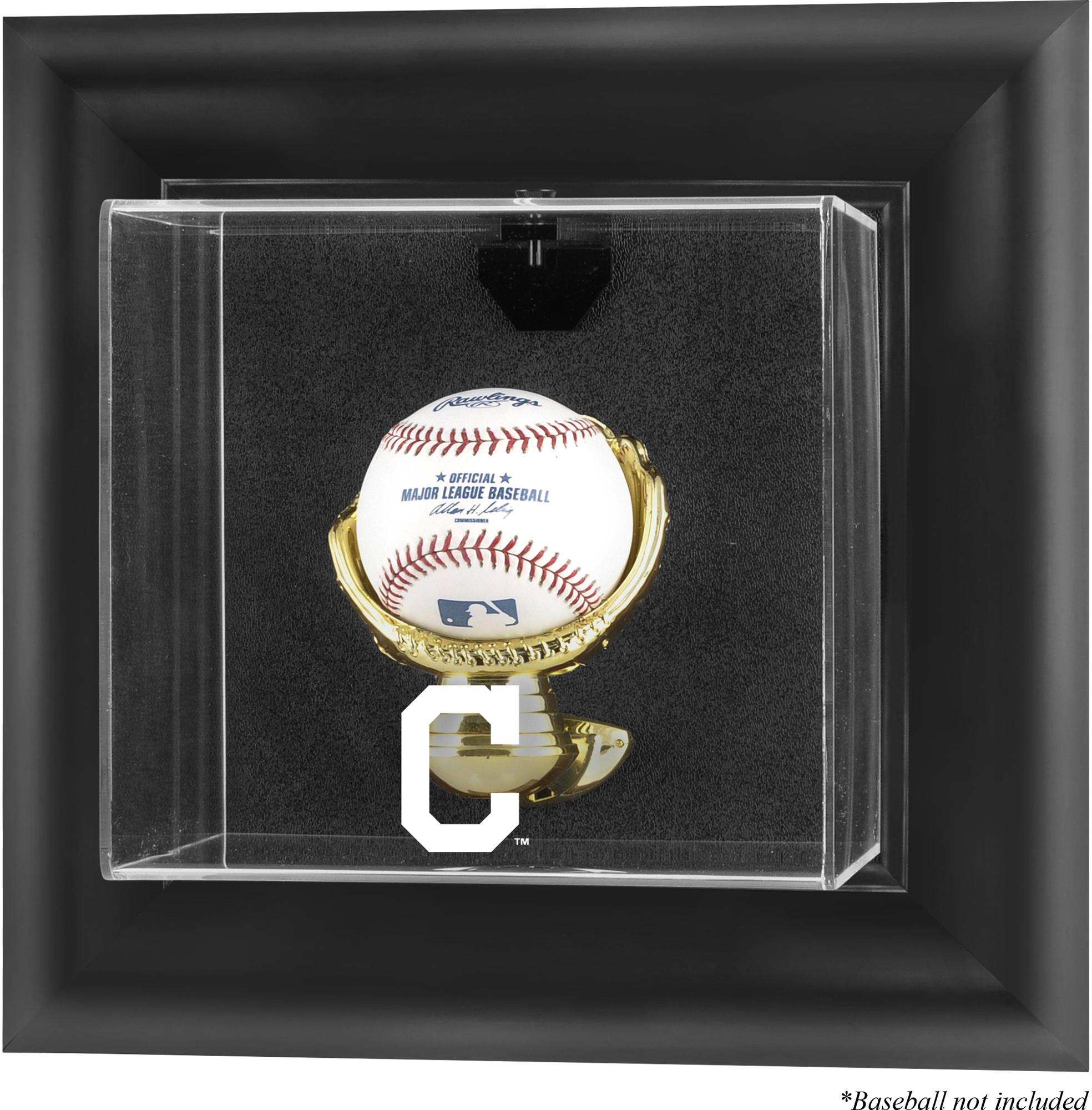 Cleveland Indians Fanatics Authentic Black Framed Wall-Mounted Logo Baseball Display Case - No Size