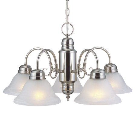 Design House 511535 Millbridge Traditional 5-Light Indoor Dimmable Chandelier with Alabaster Glass Shades for Entryway Foyer Dining Room, Satin Nickel Napa Foyer Chandelier
