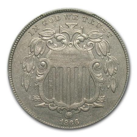 1866 Shield Nickel AU-53 PCGS (Rays) (1866 Shield)