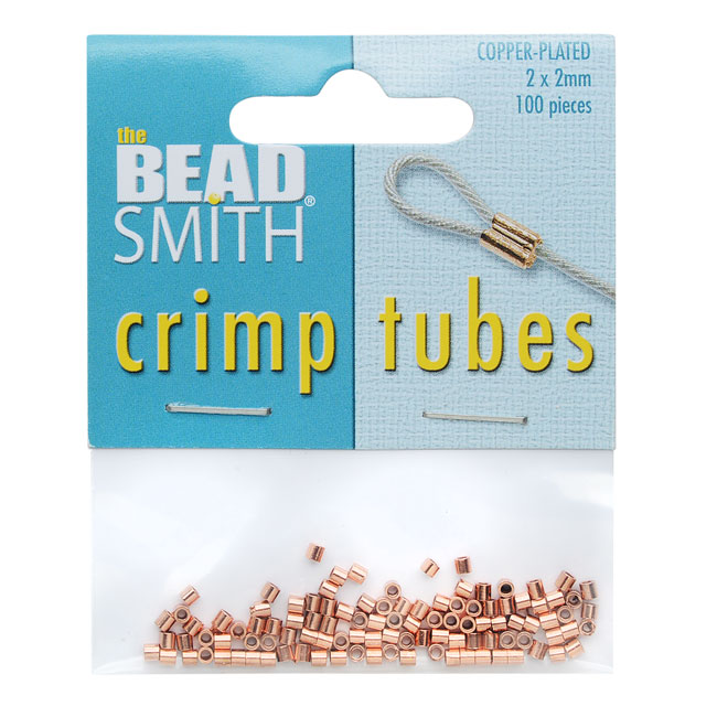BeadSmith Crimp Tubes, 2x2mm, 100 Pieces, Copper