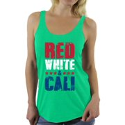Awkward Styles Red White & Cali Racerback Tank Top for Women California Tank 4th of July Tanks for Women USA Flag Sleeveless Shirt Gifts from California American Flag Tank Top 4th of July Party Tank