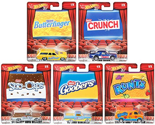 Hot Wheels 2018 Pop Culture Nestle, 1 64 Scale Premium Collectible Diecast Cars, Set of 5 by