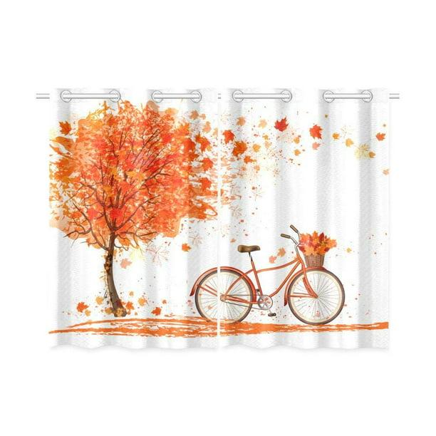 Cadecor Autumn Window Kitchen Curtain Yellow Tree With Bicycle Window Treatment Panel Curtains 26x39 Inches Set Of 2 Walmart Com Walmart Com