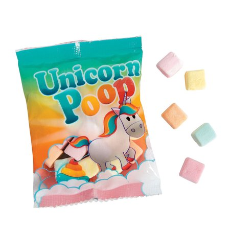 Unicorn Poop Marshmallow Candy Fun Packs Strawberry Party Favors, 20 Packs
