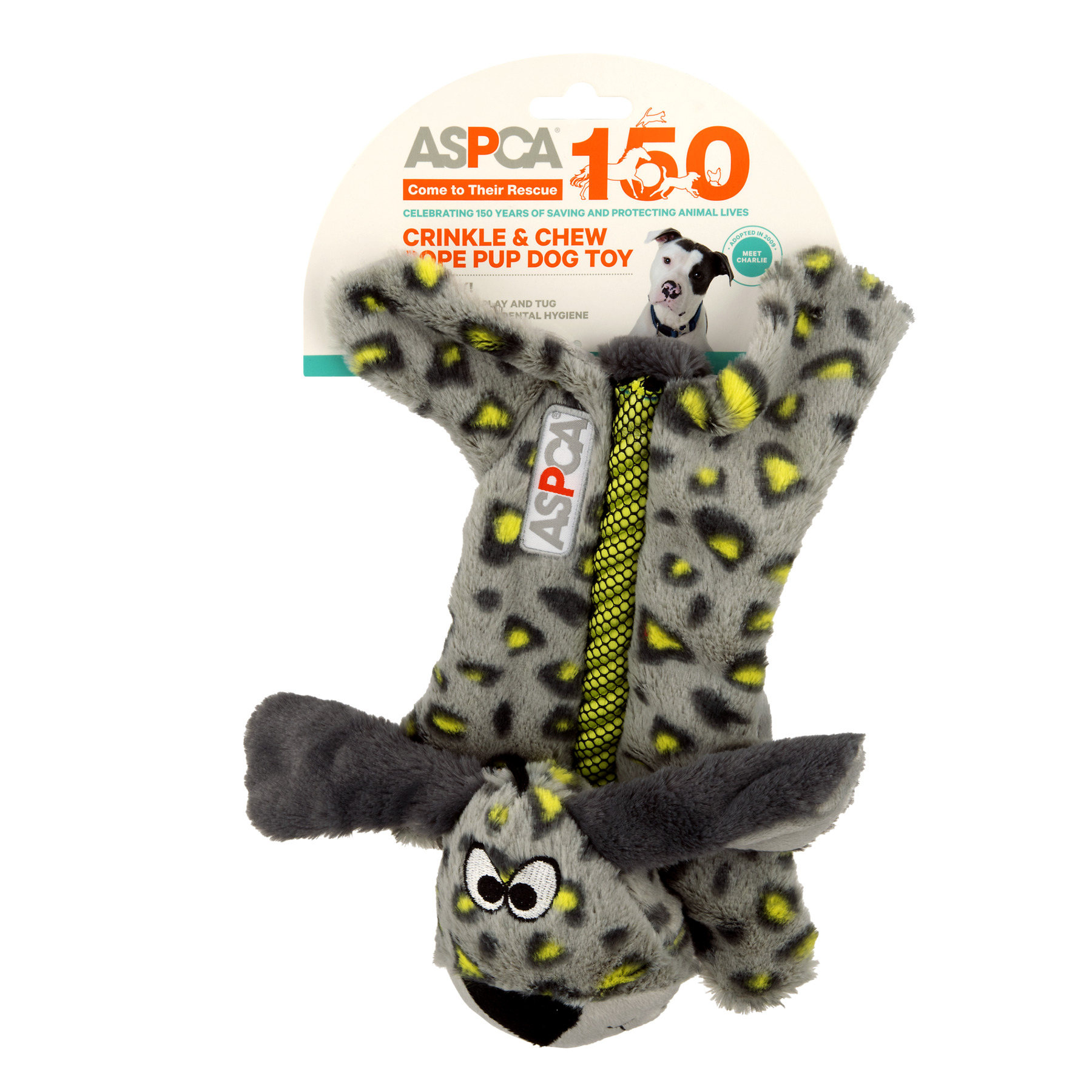 ASPCA Blue Crinkle & Chew Rope Pup Dog Toy