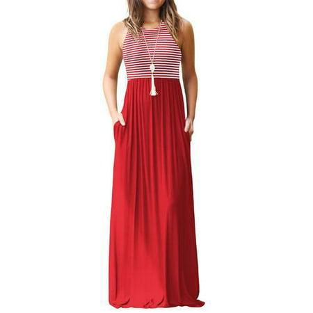 152b9ebc8bd3 Akoyovwerve Women s Sleeveless Loose Tank Maxi Striped Dress Casual ...