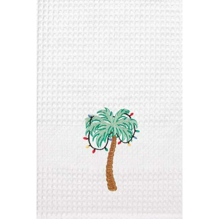 Tropical Palm Tree Christmas Decorations Kitchen Embroidered Waffle Weave  Towel