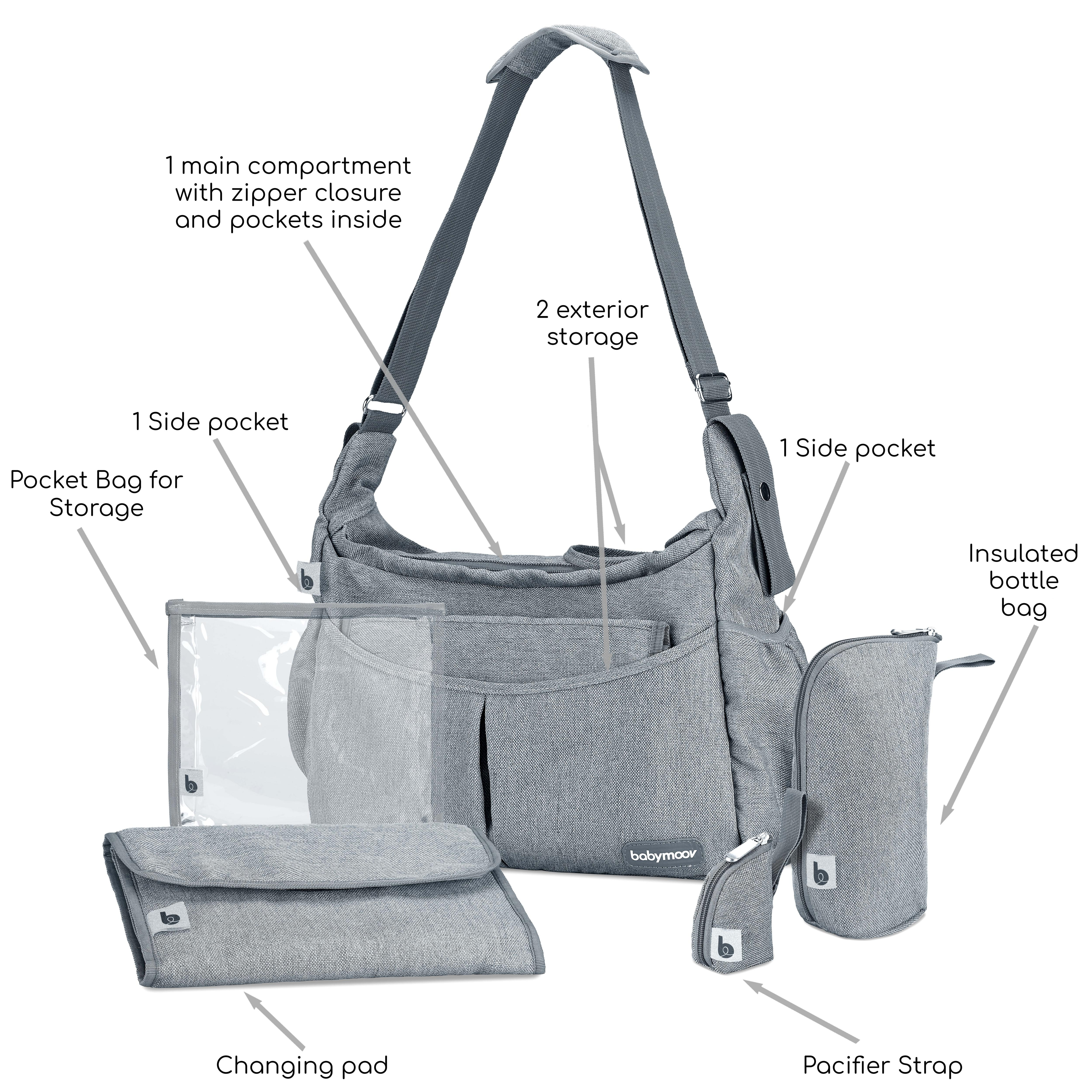 Babymoov Urban Bag - Diaper Bag with Changing Pad, Shoulder Strap and 3pc Baby Travel Accessories (Smokey Gray)