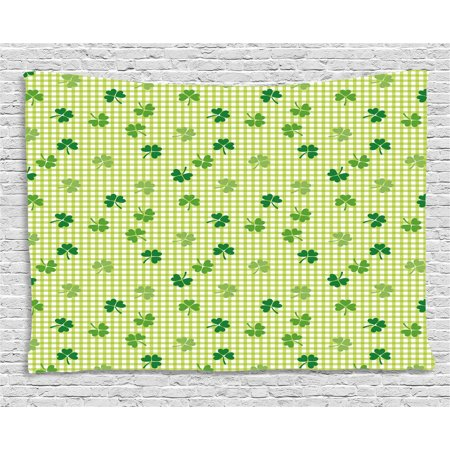 Irish Tapestry, Retro Classical Checkered Pattern Decorated with Cute Green Shamrocks Garden Plants, Wall Hanging for Bedroom Living Room Dorm Decor, 60W X 40L Inches, Multicolor, by Ambesonne