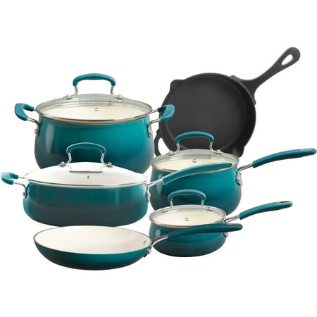 The Pioneer Woman Classic Belly 10 Piece Ceramic Non-stick and Cast Iron Cookware Set, Ocean Teal 10 Piece Pot