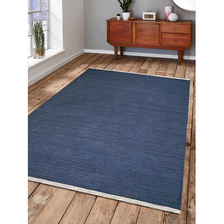 Rugsotic Carpets Hand Woven Flat Weave Kilim Wool 3'x5' Area Rug Solid Blue D00111