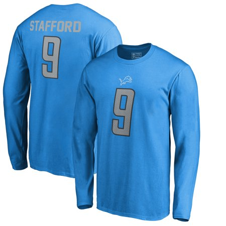release date: 9e260 9080f Matthew Stafford Detroit Lions NFL Pro Line by Fanatics Branded Authentic  Stack Name & Number Long Sleeve T-Shirt - Blue