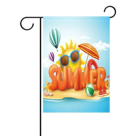POPCreation Summer 3D Sun Beach Garden Flag Outdoor Flag Home Party 28x40 inches