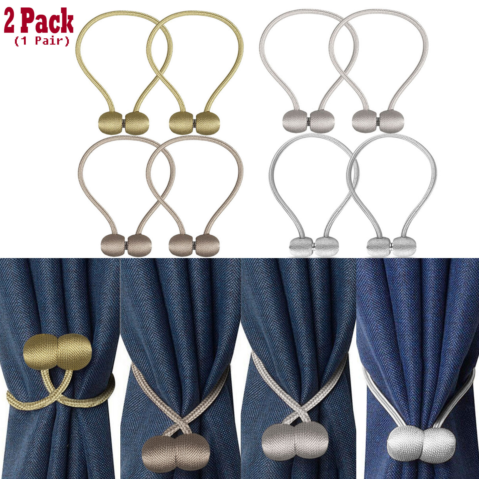 EEEKit 2Pack Magnetic Curtain Tiebacks, Curtain Holdbacks