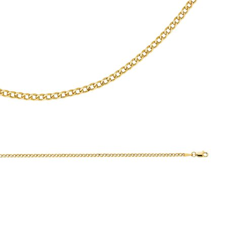 14k Thin (Cuban Chain Solid 14k Yellow Gold Necklace Hollow Curb Links Bevelled Thin Light , 2.3 mm - 16,18,20,22,24)